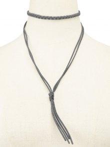 Faux Leather Rope Tassel Woven Choker - Gray