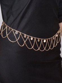 Round Sequins Tassel Wave Belly Chain - Golden