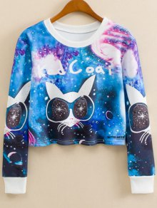 Cartoon Cat Print Crew Neck Sweatshirt - S
