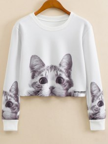 Cartoon Cat Print Jewel Neck Sweatshirt - White