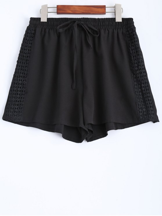Black Lace Spliced Mid-Waist String Shorts - BLACK S Mobile