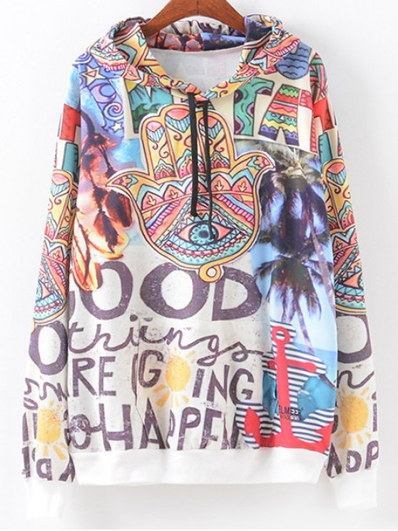 Front Pocket Scrawl Print Hoodie - COLORMIX XL Mobile