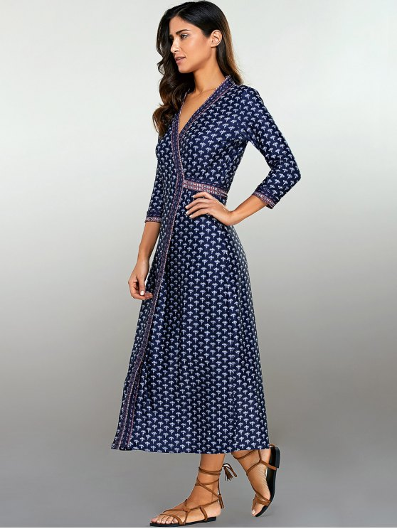 Printed Wrap Dress - PURPLISH BLUE S Mobile
