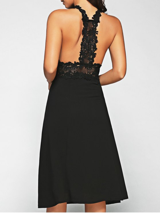 Racerback Dentelle Midi Dress - Noir L