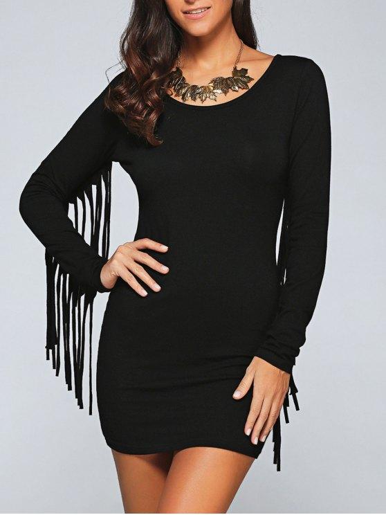 Vestido Ceñido con Fleco Largo - Negro M