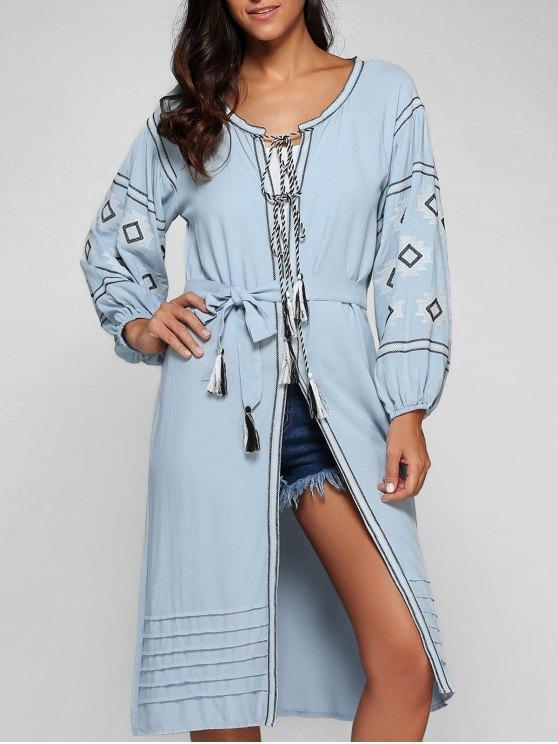 La linterna de la manga del vestido con cinturón bordado - Azul S