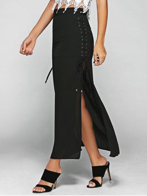 shops Lace-Up High Waist High Slit Skirt - BLACK 2XL