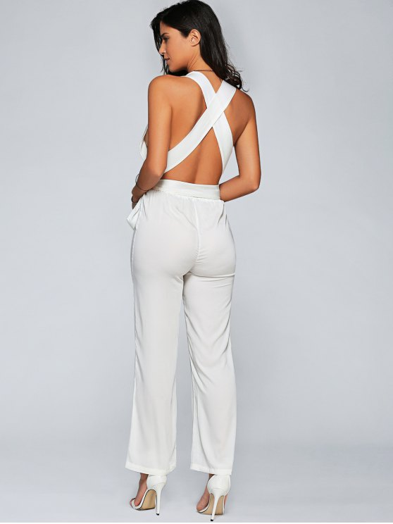 Back Criss Cross Jumpsuit - WHITE M Mobile