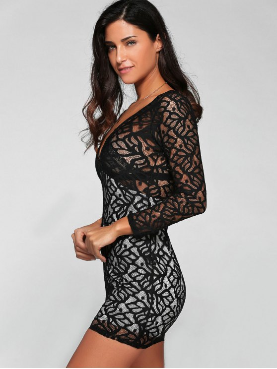 Plunging Neck Long Sleeve Lace Party Dress - BLACK XL Mobile