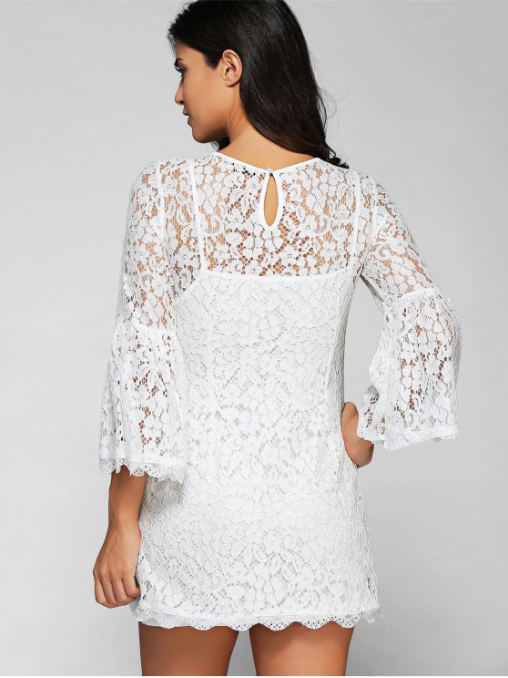 Cut Out V Neck Flare Sleeve Lace Dress with Cami Dress Twinset - WHITE 2XL Mobile