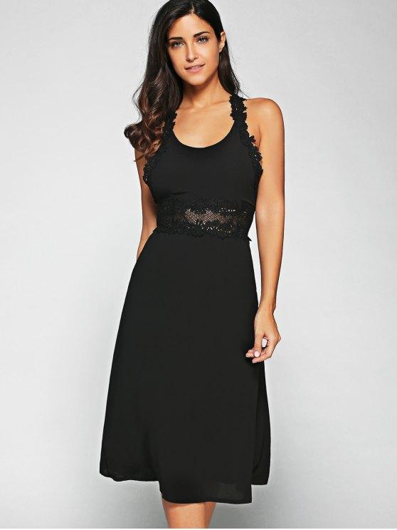 Racerback Lace Midi Dress - BLACK 2XL Mobile