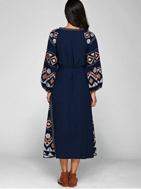 Lantern Sleeve Embroidered Belt Maxi Dress - BLUE M Mobile