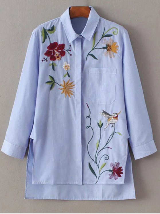 fancy Embroidered Striped Casual Shirt - BLUE L