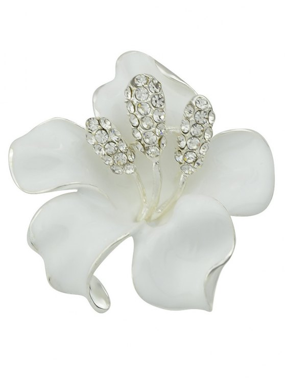 Rhinestone Floral Brooch - WHITE  Mobile