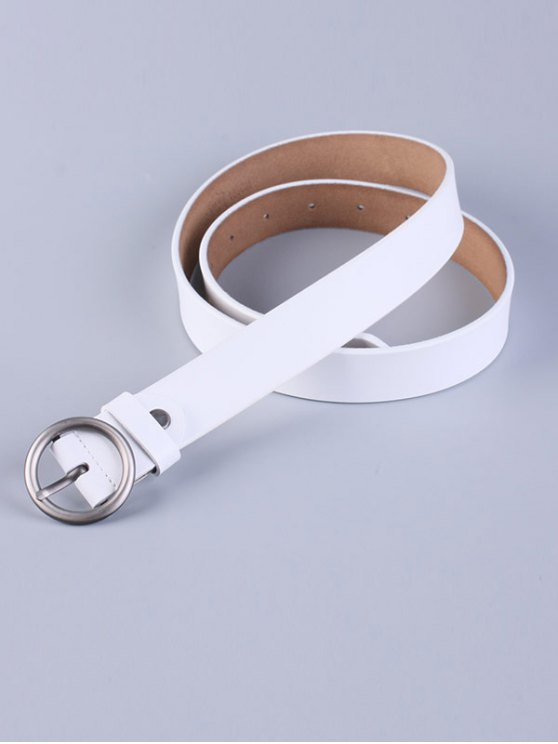 Round Pin Buckle Faux Leather Belt - WHITE  Mobile