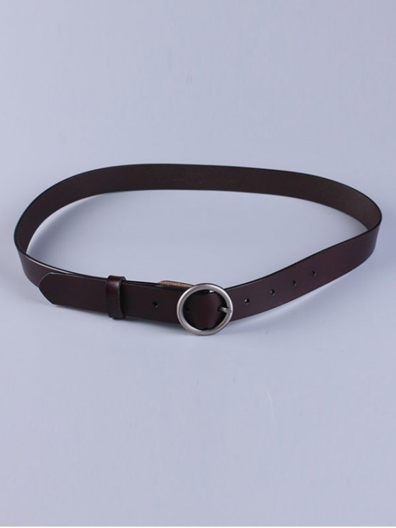 Round Pin Buckle Faux Leather Belt - DARK COFFEE  Mobile