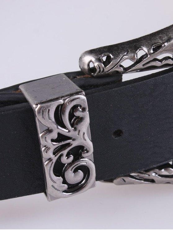 Double Filigrain Buckles Belt - DEEP GRAY  Mobile