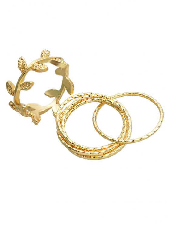 outfit A Set of Leaf Rings - GOLDEN