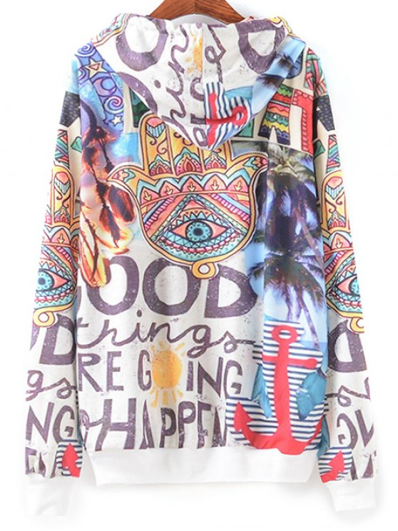 Front Pocket Scrawl Print Hoodie - COLORMIX M Mobile