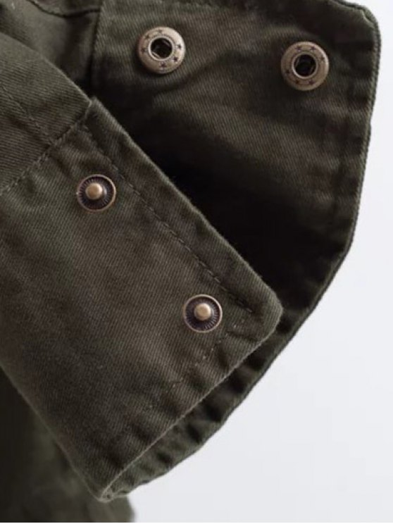 Printed Utility Jacket - ARMY GREEN M Mobile