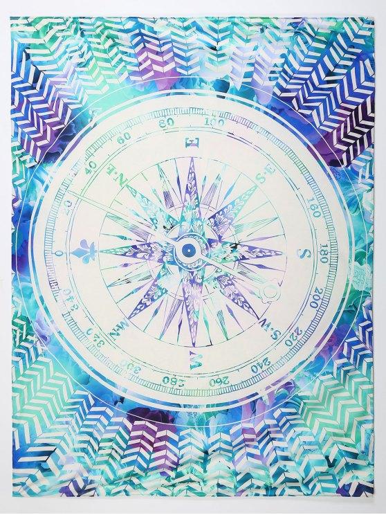 chic Compass Print Beach Throw - COLORMIX L