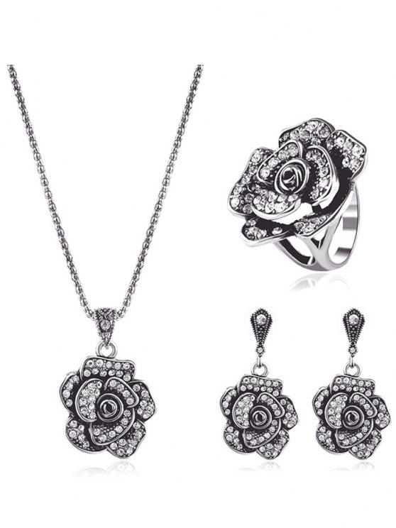 Conjunto de joyas diamantes de imitación floral - Plata