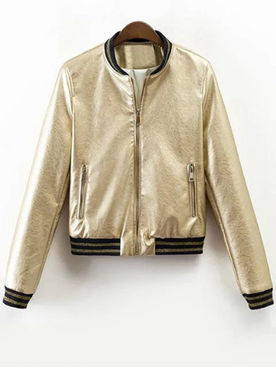 latest Metallic Color Bomber Jacket - CHAMPAGNE XL