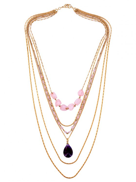 buy Water Drop Faux Amethyst Necklace Set - GOLDEN