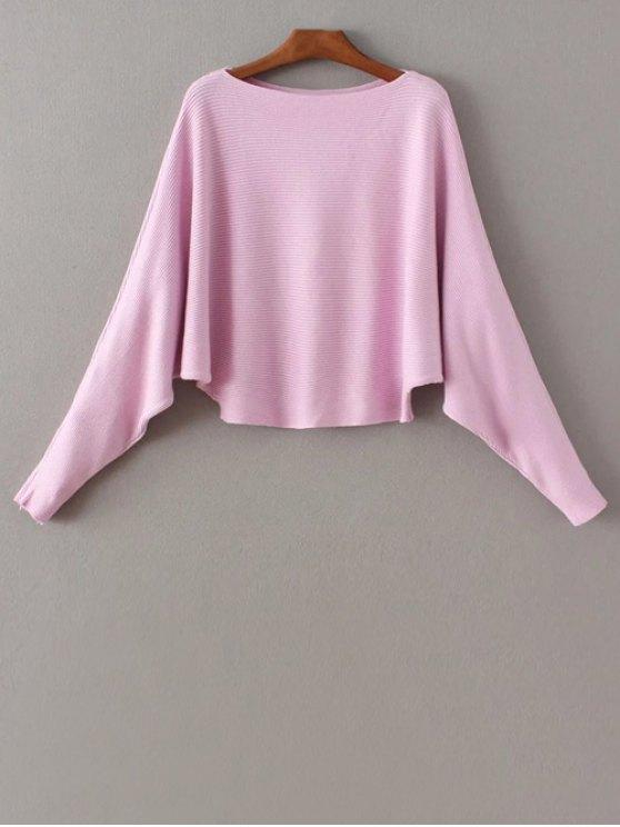 Manga del Batwing del suéter del cuello del barco - Rosa Única Talla