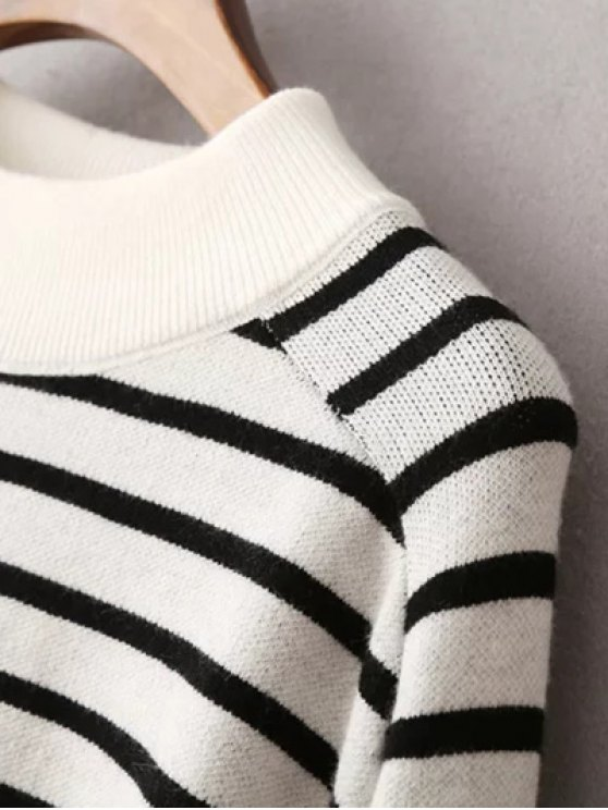 Striped Raglan Sleeve Sweater - BLACK ONE SIZE Mobile