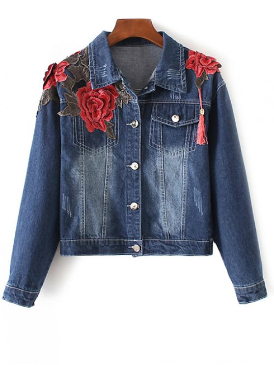 lady Fringed Embroidered Denim Jacket - DENIM BLUE L