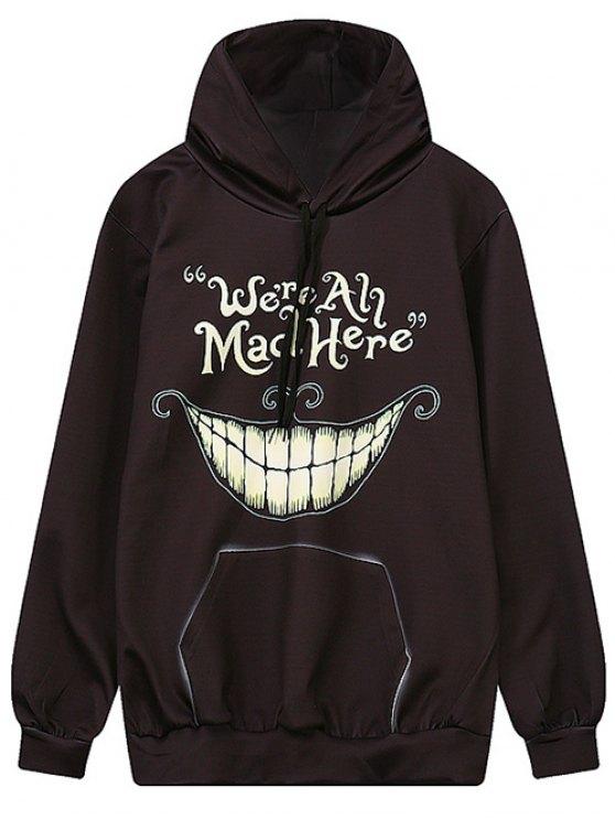shops Teeth Print Pullover Hoodie - BLACK M