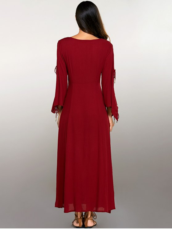 Split Sleeve Lacing Maxi Dress - RED S Mobile