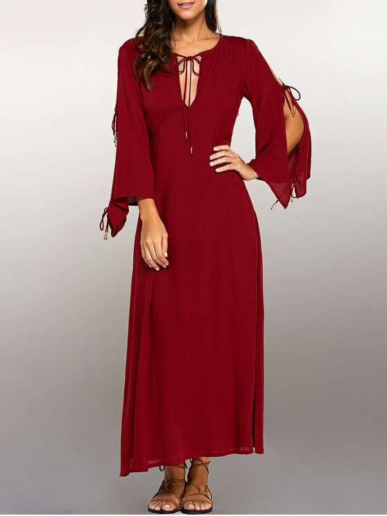 Split Sleeve Lacing Maxi Dress - RED M Mobile