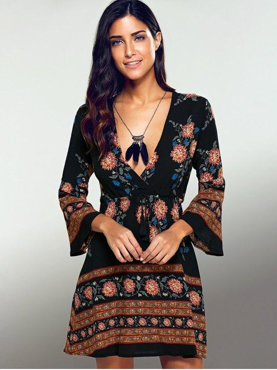 Printed Drawstring Plunging Neck Dress - BLACK L Mobile