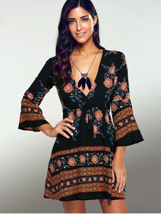Printed Drawstring Plunging Neck Dress - BLACK S Mobile