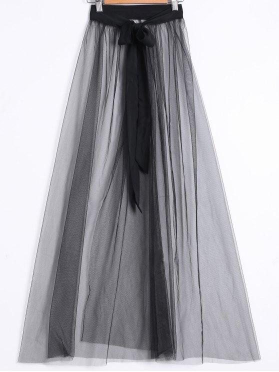 Ver-A través de falda de hendidura - Negro M