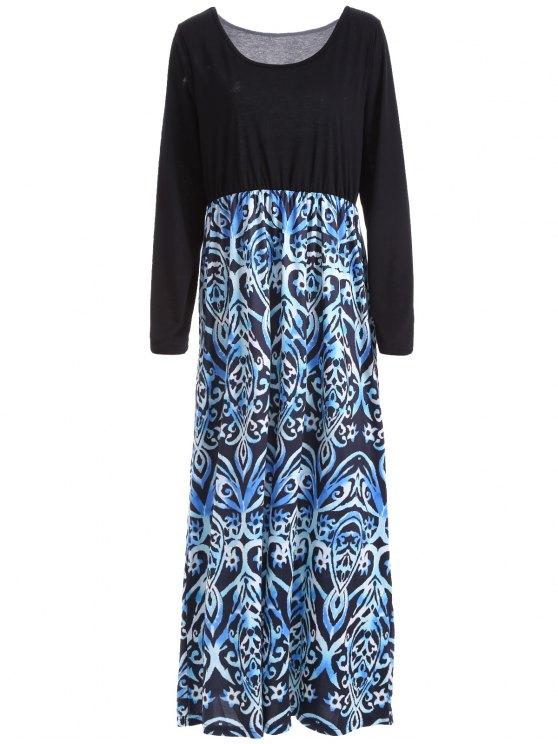 الأكمام الطويلة ماكسي فستان عارضة - Colormix XL