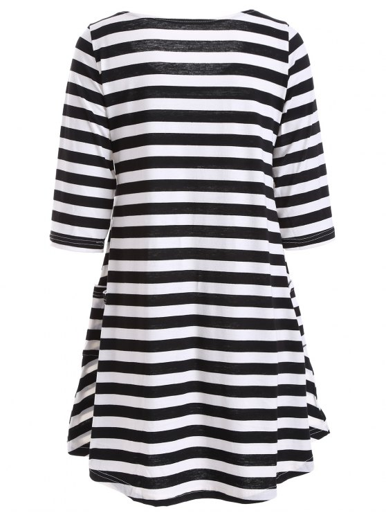 A Line Striped Dress With Pocktes - WHITE AND BLACK S Mobile
