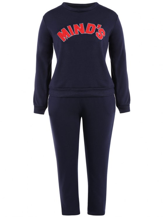Letter Print Sweatshirt With Drawstring Pants - DEEP BLUE 2XL Mobile