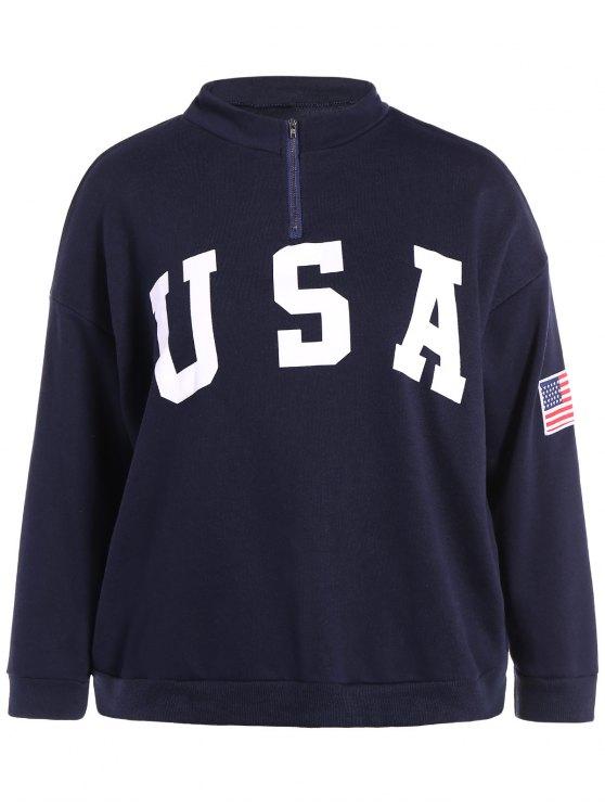 Lettre Imprimer Taille Plus Sweatshirt - Bleu Foncé 5XL