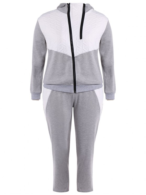 shops Color Block  Zip Up Hoodie With Pants - GRAY 3XL