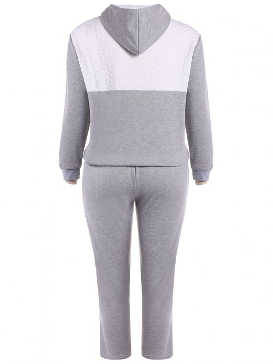 Color Block  Zip Up Hoodie With Pants - GRAY 3XL Mobile
