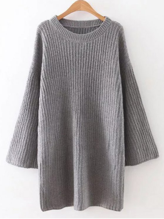 Drop Shoulder Long Sleeve Sweater Dress - GRAY ONE SIZE Mobile