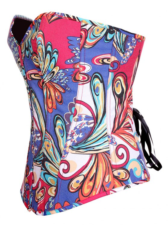 Lace Up Butterfly Printed Corset - BLUE S Mobile