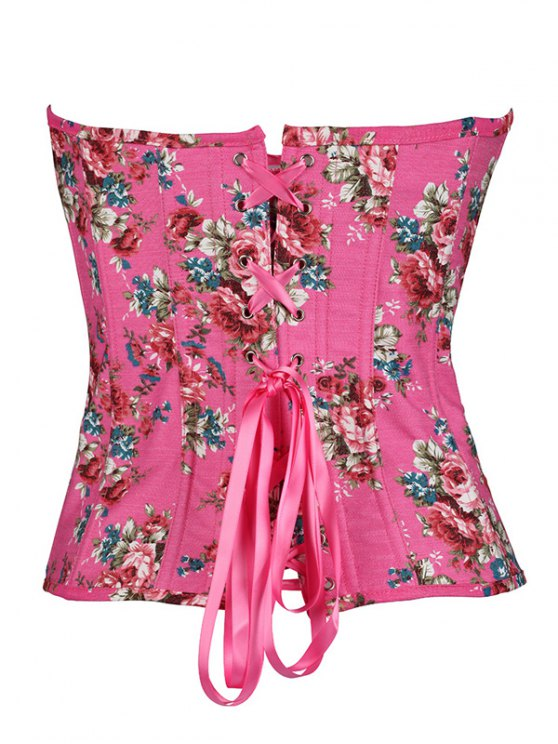 Flower Print Lace Up Corset - ROSE RED S Mobile