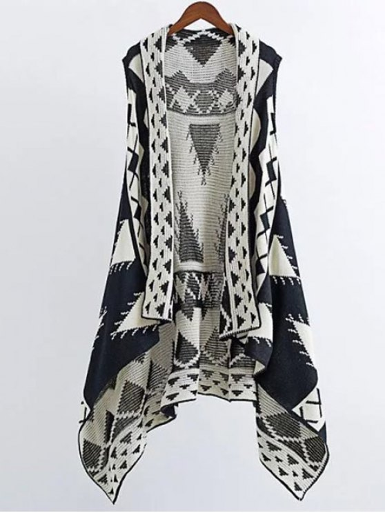Knitting Printed Cape Waistcoat - BLACK S Mobile