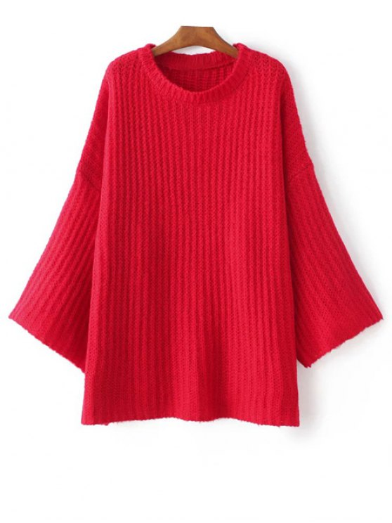 affordable Casual Flare Sleeve Sweater - RED ONE SIZE