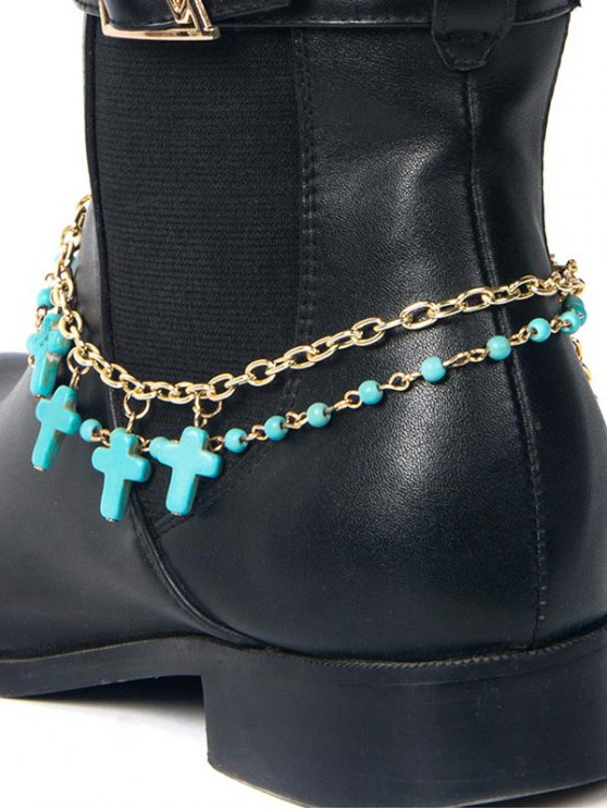 Beaded Cross Boot Anklet -   Mobile