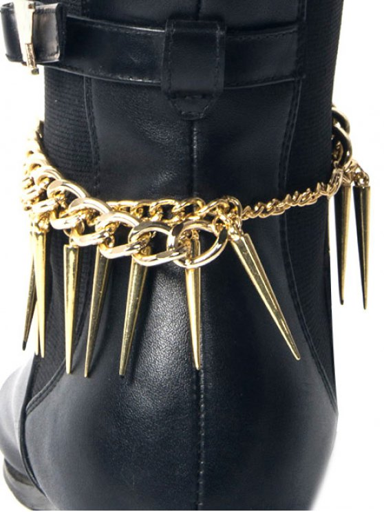 Punk Style Rivet Boot Anklet - GOLDEN  Mobile